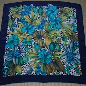 Animal Tropical Floral Square Silk Scarf